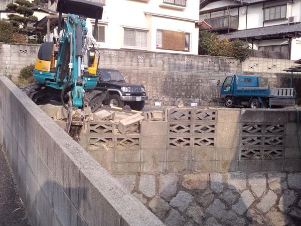 ブロック工事 施工途中2